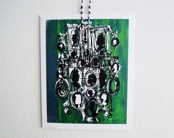 KAMEEN #136 | Retro-Silhouetten in schwarz über blau und grün, ein original Kunst-Siebdruck (8 x 10)