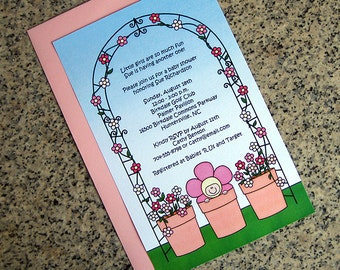 flower pot baby pink baby shower invitations full sized fully custom for girl with envelopes - set of 10