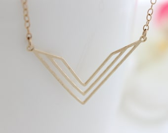 Chevron Necklace • Gold necklace with a chevron pendant • Gifts for her