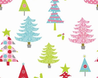 Christmas Fabric, Holiday Fabric, Christmas Basics by Riley Blake,  Christmas Basic Tree in White, Cotton, 1 Yard