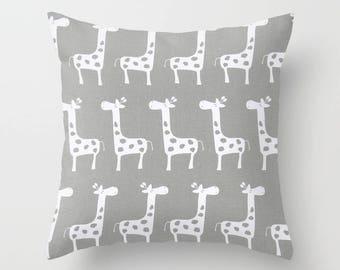 Nursery Pillow Cover Gray Pillow Giraffe Pillow Decorative Pillow Size Choice