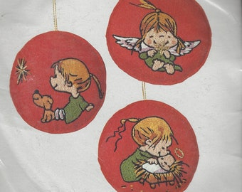 1980s Marty Links Crewel Christmas Ornament Kit Columbia Minerva Kit 7134 Set of 3 Ornaments for Crewel Embroidery NIP Hallmark Design