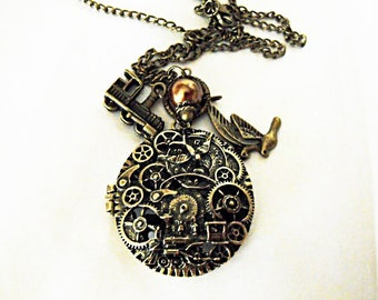 Bronze Locket Necklace,  Steampunk Train and Gears Necklace With Pearl And Charms  Womens Gift  Handmade