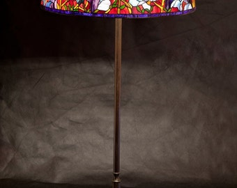 Floor Lamp, Bespoke Glass, Stained glass lamp, Tiffany replica, Tiffany magnolia, Senior floor lamp, Red lamp, Stained glass, Lobby lamp