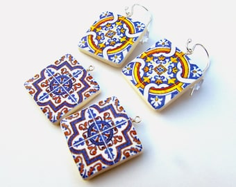 Azulejos Portugueses Earrings - Interchangeable Earrings - Handcrafted Portuguese Tile Earrings - Made in Australia - Sterling Silver