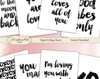 75% OFF SALE Calligraphy Love - Digital Collage Sheet Digital cards C084 Printable download image Tags Digital Vintage Atc ACEO B&W cards