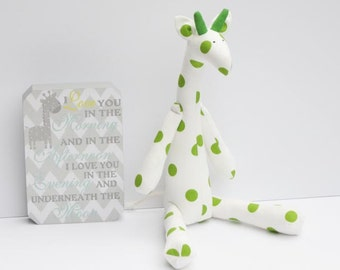 Stuffed giraffe toy handmade white green polka dot giraffe cute plush softie toy for kids girl boy birthday baby shower gift nursery decor