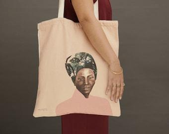 canvas bags, Printed cotton tote bags, Canvas tote bag, shoulder bag, market bag, beach bag, vegan tote bag, vegan bag, african woman print