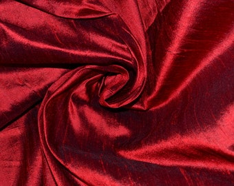 Silk Dupioni in Dark Red/Sangria, Fat quarter-D 49