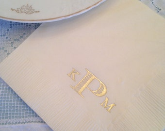 Block Printed Monogrammed Napkins | Wedding or Personalized Home Gift | Darby Cards