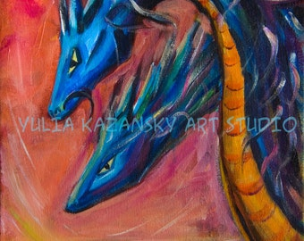 Original acrylic painting Blue Dragons Dragon art dragon painting Fantasy art fantasy painting Mythology Folklore art Wall decor