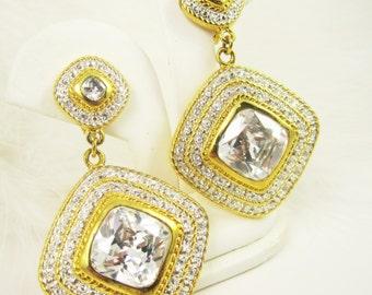 Big Rhinestone Dangle Clip On Earrings Oversize Runway Style Prism Crystal Earrings