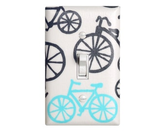 Bike Light Switch Plate Cover / Kids Room / Baby Nursery  / Blue, White, and Gray Bicycles / Its a Boy Thing Michael Miller Haze