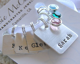 Personalized Knitting / Crochet Stitch Markers - Hand Stamped Sterling Silver - Removable, Square Stitch Markers - Gift Set for Mother's Day