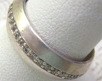 """Vintage Sterling Channel Set Rhinestone Crystal Band Ring...Signed """"Metalsmith""""...Size 7 1/2.....Circa 1960s"""
