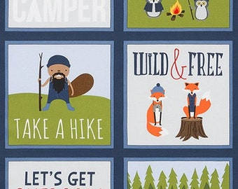 Campsite Critters Panel - Robert Kaufman - AHE-17624-73 LAKE - Camping - Camping Fabric - Outdoor Fabric - Cabin Fabric