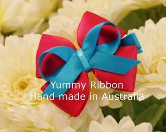 hot pink ribbon bow, pink hair clip, kids hair clip. infant hair clip, toddler hair clip, baby hair clip, handmade ribbon bow, hair bow