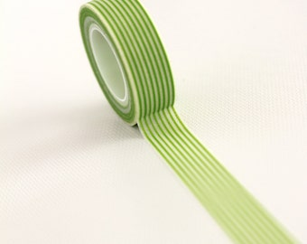 10m - Girl Talk - Lime Green and White Pinstripe Lines - Grass Green Small Stripe Washi Tape - Japanese Tape - Neon