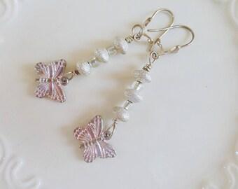 Beaded earrings, butterfly earrings, sparkle bead earrings, butterfly charms, cute earrings, springtime, gift idea, ready to ship, handmade