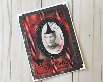 Mixed Media Halloween Card, Witch Halloween Card, Hand Stamped Halloween Card