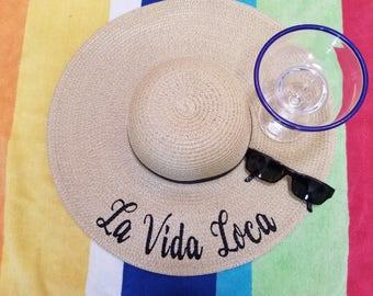 La Vida Loca Floppy Hat, Beach Hat, Ladies Sun Hat, Honeymoon Hat, Bachelorette Party, Shower Gift