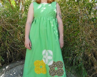 1960s Boho Dress - Empire waist Dress -Mint- Vintage Maxi Dress-Pathwork Dress-Size M