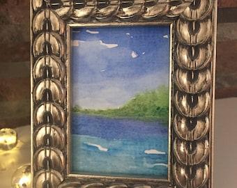 ACEO original, ATC Ocean painting, Framed watercolor Ocean, ATC seascape, Island painting, artist trading card, Original Mini Art, Desk art