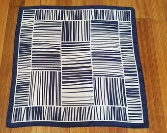 Vintage 70's Navy & White Striped Pattern Square Scarf