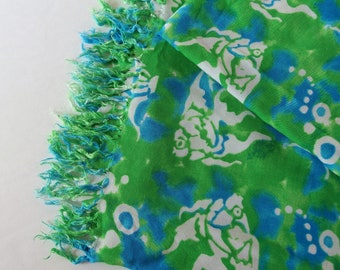 Fish Sari Fabric, Green and Blue with White Fish and Fringed Ends, 45 x 60 Inches