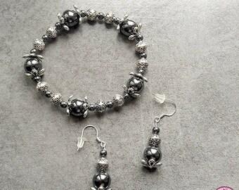 Set bracelet and earrings in Hematite