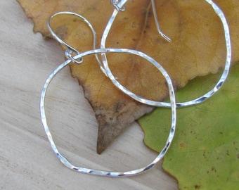 Hammered Silver Earrings, Sterling Silver Hoop Earrings, Silver Dangle Earrings