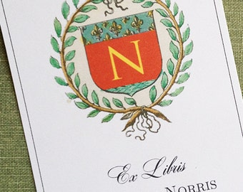 Monogram Bookplate with Napoleon Wreath and your name  - Set of 24