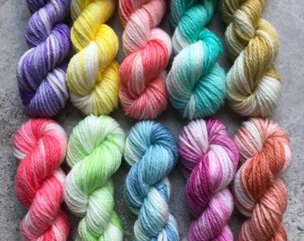 Hand Dyed Sock Yarn Mini Skein Set #158 -- 10 Mini Skeins/25 Yards Each