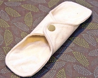 ORGANIC 7 inch Reusable Cloth winged ULTRATHIN Pantyliner -Unbleached, Organic Cotton flannel top