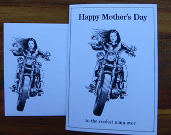MOTHER'S DAY Card - Happy Mother's Day, Mum, Biker Chick, Motorbike, Harley