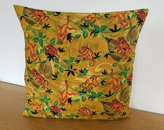 SALE Handmade Cushion Cover - Ready Made - Quick Shipping / Posting - Golden Brown Orange Cheeky Monkeys Jungle Vines Tropical 16""