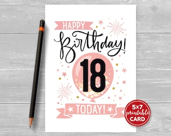 """Printable 18th Birthday Card in Pink - Happy Birthday 18 Eighteen Today! for her- 5""""x7"""" plus printable envelope template. Instant Download."""