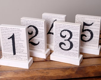 5 Wedding Table Numbers, Book Page Table Numbers, Wooden Literary Table Numbers, Wedding Decorations, Storybook Table Numbers