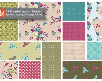 """12 Pretty Floral Digital Scrapbooking Paper Patterns and Collage Sheets - 12x12"""" HiRes 300dpi files"""