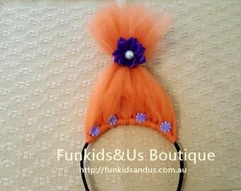 Dj Suki trolls hair headband-     Trolls headband, poppy troll headband, troll birthday headband, princess poppy troll headband