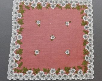 Vintage Floral Cotton Hankie Handkerchief with Scalloped Edge