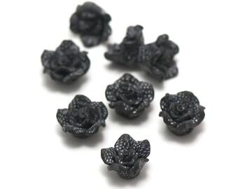 """2 cabochons """"Polynesian flower No. 7"""", 15 x 15 x 9 mm, black"""