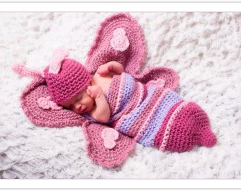 Crochet Butterfly Hat and Cocoon Set