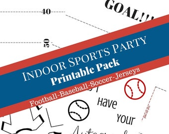 Sports Party, sports birthday party, football party, baseball party, soccer party, little boy party, party pack, printable sports pack,