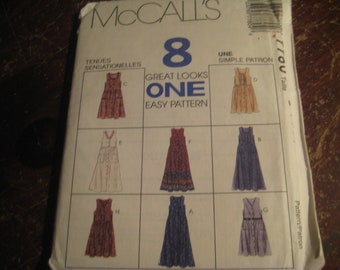 Vintage MCCALL'S DRESS/JUMPER**Sizes 12,14,16**8 Great Looks from One Easy Pattern**Uncut/Never Used**Complete with instructions**Like New!!