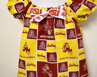 ASU - Arizona State University - Girls Peasant Shirt Top -  Size 4T - SunDevils - Sparky - Maroon and Gold