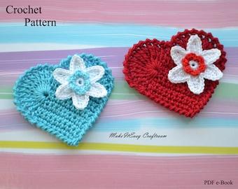 Heart applique crochet pattern Crochet heart with flower Valentine heart crochet embellishment Crochet blue heart Digital download