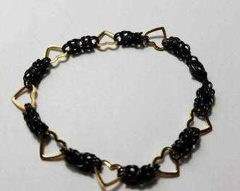 Byzantine chainmaille bracelet~black with gold hearts~Womens~ Charm~Everyday wear chainmaille bracelet
