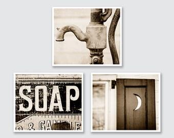 Vintage Sepia Bathroom Wall Decor, Sepia Bathroom Prints or Canvas Set, Sepia Bath Set, Rustic Bathroom Decor Set of 3 Prints.