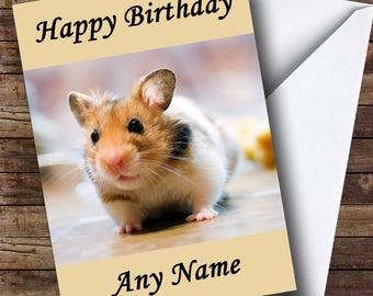 Cute Little Hamster Personalised Birthday Card